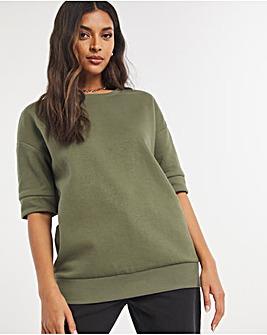 Khaki Short Sleeve Sweatshirt