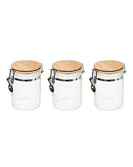 Modern Set of 3 Clip Jars White