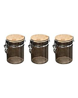 Modern Set of 3 Clip Jars Black