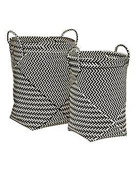 Set of 2 Woven Laundry Baskets