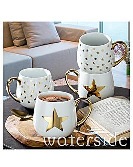 Shiny Gold Star Set of 4 Mugs
