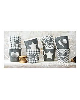 Grey Star & Heart Set of 8 Mugs