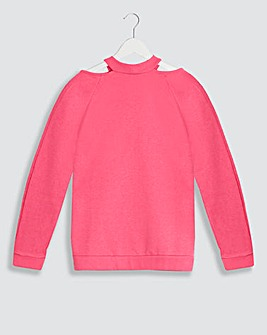Hot Pink Cut Out Neck Sweatshirt