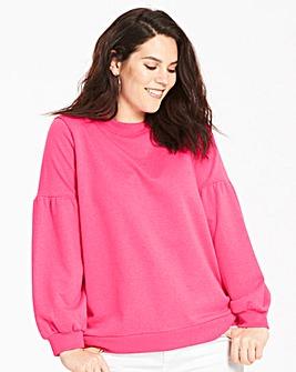 Hot Pink Balloon Sleeve Sweatshirt
