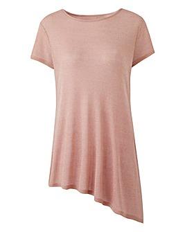 Blush Pink Asymmetric Glitter Top