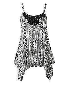 Black Aztec Asymmetric Lace Trim Vest