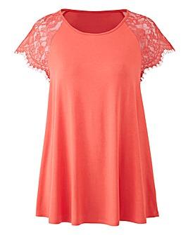 Dusky Pink Lace Sleeve Swing Top
