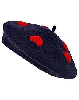 Accessorize Heart Applique Wool Beret