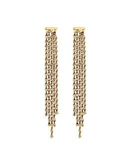 MOOD Gold Twist Chain Fringe Earrings