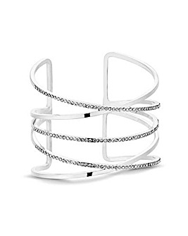 MOOD Silver Criss Cross Cuff Bracelet