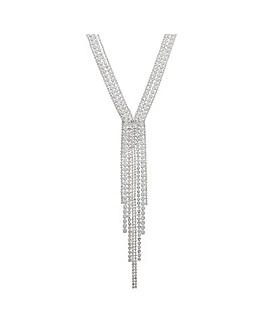 MOOD White Diamante Mega Lariat Necklace