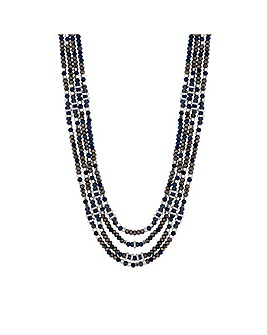 MOOD Tonal Blue Beaded Multirow Necklace