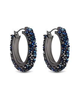 MOOD Metallic Blue Beaded Hoop Earrings