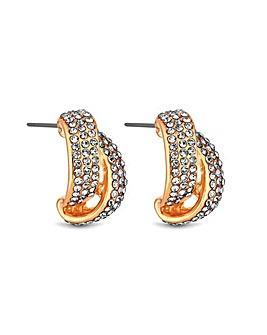 MOOD Pave Cross Over Stud Earrings