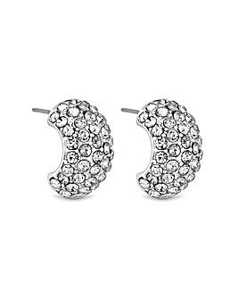 MOOD Pave Half Hoop Earrings