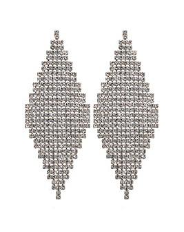 MOOD Statement Diamante Drop Earrings