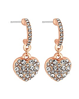 Rose Gold Pave Heart On Hoop Earrings