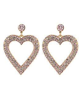 Rose Gold Pink Crystal Heart Earrings
