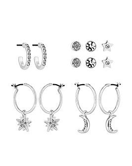 Silver Crystal Celestial Earring Set