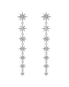 Silver Star Linear Drops Earring