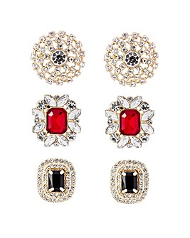 Tonal Red Bumper Stud Earrings Pack Of 3