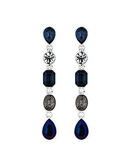 Silver Blue Mix Drop Earrings