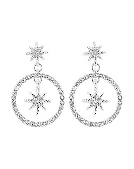 Silver Star Front Facing Midi Drops Earring