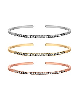 Tri Tone Cuff Bracelets Pack Of 3