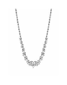 Silver Plated Leaf Stone Allway Necklace