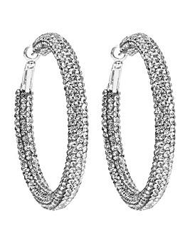Silver Crystal Pave Tube Hoop Earring