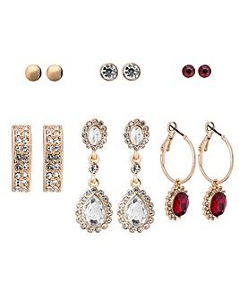 Red Baroque Earrings Pack Of 6