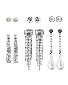 Silver Party Jangle Earrings Pack Of 6