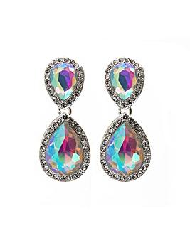 Silver Crystal Double Teardrop Earring