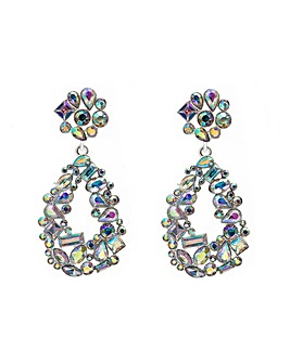 Silver Crystal Cluster Earring