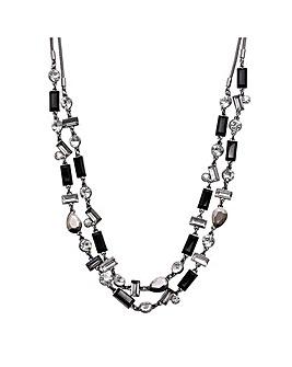 Silver Double Row Monocrome Necklace