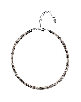 Grey Pave Tube Necklace