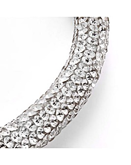 Silver Crystal Pave Tube Hoop Necklace