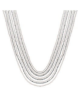 Diamante & Pearl Multirow Necklace