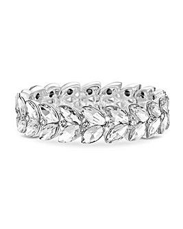 Silver Leaf Stone Stretch Bracelet
