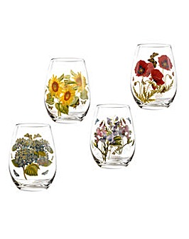Botanic Garden Stemless Wine Glasses x4