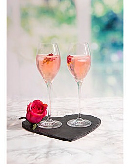 Slate Heart Platter and Prosecco Glasses