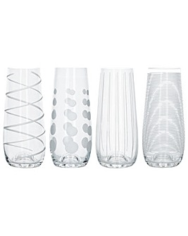 Mikasa Cheers Set of 4 Stemless Flutes