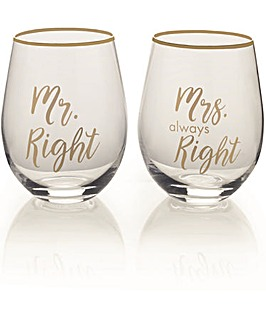 Mikasa Stemless Wine Glasses