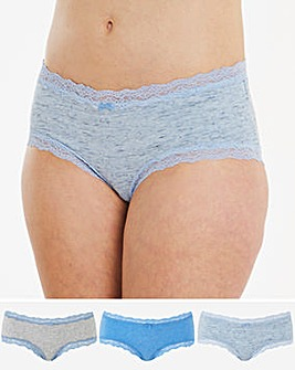 Sophia Marl and Lace Cotton Comfort 3 Pack Shorts
