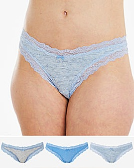 Sophia Marl and Lace Cotton Comfort 3 Pack Brazilians