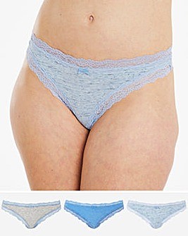 Sophia Marl and Lace Cotton Comfort 3 Pack Thongs