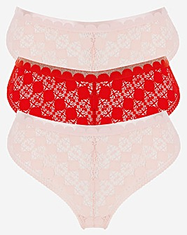 Simply Be 3 Pack Poppy Lace Thongs