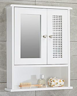 Bali Rattan Mirrored Wall Cabinet with Shelves