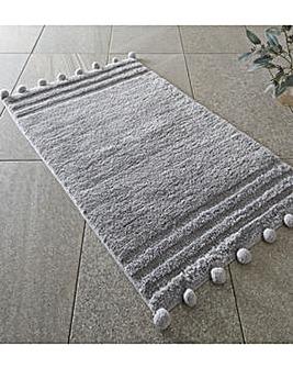 Pom Pom Grey Bathmat