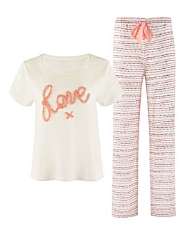 Boux Avenue Love Tee and Stripe Pant
